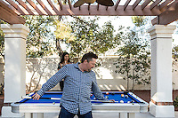 Terry Fator's Las Vegas, Nev. home, Jan. 20, 2014. Fator and his wife, Taylor Makakoa, play pool in the backyard. Images are available for editorial licensing, either directly or through Gallery Stock. Some images are available for commercial licensing. Please contact lisa@lisacorsonphotography.com for more information.