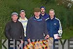 COURSING TIME: Braving the bad weather on Saturday at the Abbeydorney Coursing were Donal Galvin, Brian and Gerard O'Sullivan (Abbeyfeale) with Patrick Egan and Pat Murphy (Tralee).