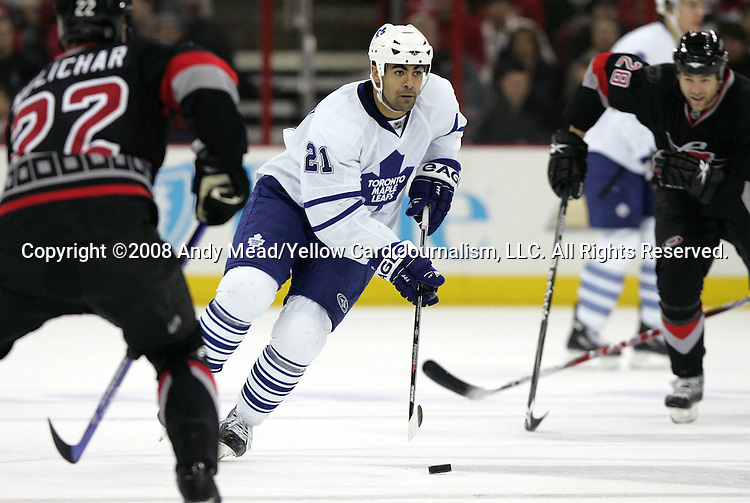 02 November 2008: Toronto's Jamal Mayers. The Carolina Hurricanes defeated the Toronto Maple Leafs 6-4 at the RBC Center in Raleigh, NC in a 2008-09 National Hockey League regular season game.