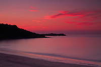 St Ives and St Ives Bay from Carbis Bay at sunset, Cornwall