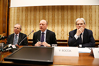 Pier Carlo Padoan, ministro delle Finanze Vincenzo Boccia, presidente Confindustria, Carlo de Vincenti durante la conferenza stampa  a margine di Italy is Now and Next