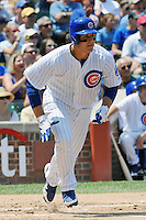 Chicago Cubs first baseman Anthony Rizzo #44 runs to first during a game against the Arizona Diamondbacks at Wrigley Field on July 15, 2012 in Chicago, Illinois. The Cubs defeated the Diamondbacks 3-1. (Tony Farlow/Four Seam Images).
