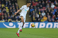 Kyle Naughton of Swansea City stops the ball during the Premier League match between Watford and Swansea City at the Vicarage Road, Watford, England, UK. Saturday 30 December 2017