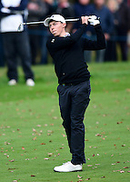 Matthew Fitzpatrick of England hits his approach to the 18th green during Round 4 of the 2015 British Masters at the Marquess Course, Woburn, in Bedfordshire, England on 11/10/15.<br /> Picture: Richard Martin-Roberts | Golffile