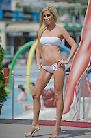 Kinga Dosa attends the Miss Bikini Hungary beauty contest held in Budapest, Hungary on August 06, 2011. ATTILA VOLGYI
