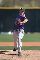 Colorado Rockies relief pitcher Austin Moore (25) during a Minor League Spring Training game against the Milwaukee Brewers at Salt River Fields at Talking Stick on March 17, 2018 in Scottsdale, Arizona. (Zachary Lucy/Four Seam Images)