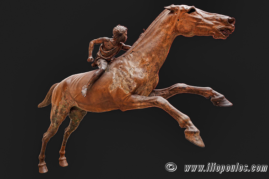 Bronze statue of Artemision Jockey (140 B.C.) in National Museum, Greece