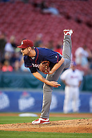Lehigh Valley IronPigs relief pitcher Phil Klein (48) follows through on a pitch during a game against the Buffalo Bisons on July 9, 2016 at Coca-Cola Field in Buffalo, New York.  Lehigh Valley defeated Buffalo 9-1 in a rain shortened game.  (Mike Janes/Four Seam Images)