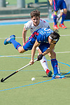 GER - Mannheim, Germany, April 15: During the field hockey 1. Bundesliga match between Mannheimer HC (blue) and Rot-Weiss Koeln (white) on April 15, 2018 at Am Neckarkanal in Mannheim, Germany. Final score 2-2. (Photo by Dirk Markgraf / www.265-images.com) *** Local caption *** Danny Nguyen #22 of Mannheimer HC