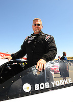 Jul. 17, 2010; Sonoma, CA, USA; NHRA pro stock driver Bob Yonke during qualifying for the Fram Autolite Nationals at Infineon Raceway. Mandatory Credit: Mark J. Rebilas-