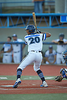 Justin Rodriguez (20) (North Carolina A&T) of the Martinsville Mustangs at bat against the Old North State League East All-Stars at Hooker Field on July 11, 2020 in Martinsville, VA. The Mustangs defeated the Old North State League East All-Stars 14-6. (Brian Westerholt/Four Seam Images)