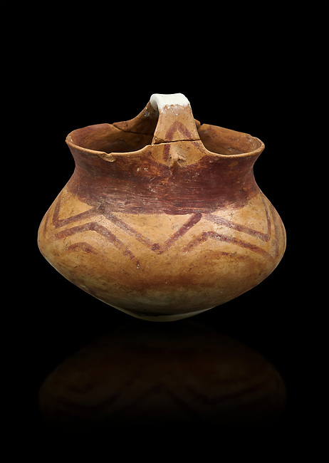 Chalcolithic decorated terra cotta basket pot. Circa 5000BC. Catalhoyuk collection, Konya Archaeological Museum, Turkey. Against a black background
