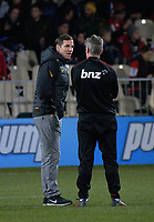 Jaguares head coach Gonzalo Quesada talks to Ronan O'Gara before the 2019 Super Rugby final between the Crusaders and Jaguares at Orangetheory Stadium in Christchurch, New Zealand on Saturday, 6 July 2019. Photo: Dave Lintott / lintottphoto.co.nz