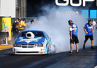 Jul. 25, 2014; Sonoma, CA, USA; NHRA pro stock driver Matt Hartford during qualifying for the Sonoma Nationals at Sonoma Raceway. Mandatory Credit: Mark J. Rebilas-