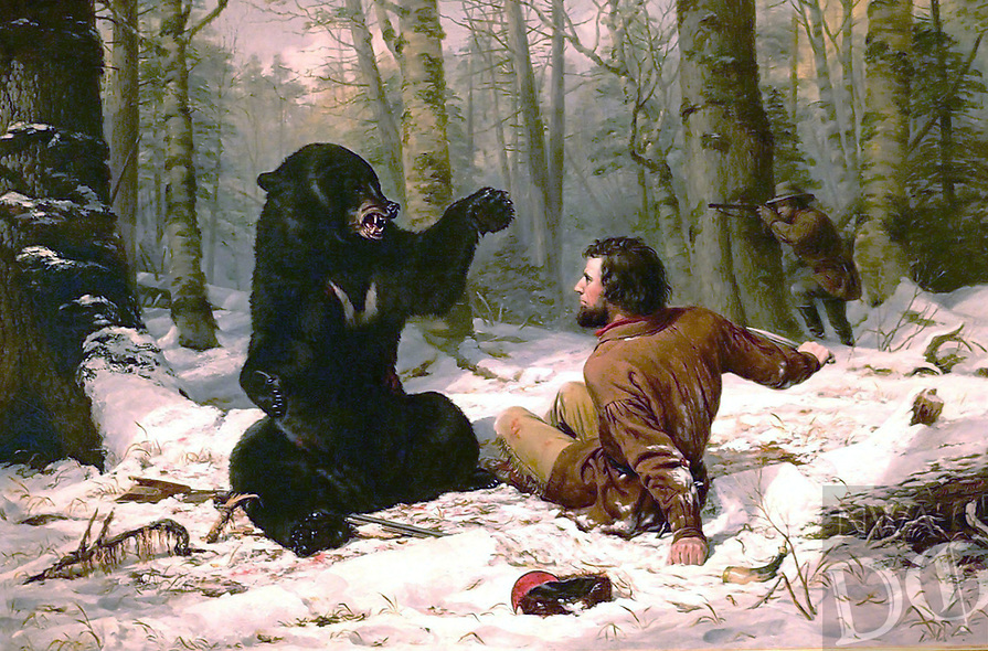 """A Tight Fix — Bear Hunting, Early Winter"" by Arthur Fitzwilliam Tait."