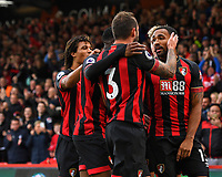 Callum Wilson of AFC Bournemouth right is congratulated bt Steve Cook of AFC Bournemouth after scoring the first goal during AFC Bournemouth vs Manchester United, Premier League Football at the Vitality Stadium on 3rd November 2018
