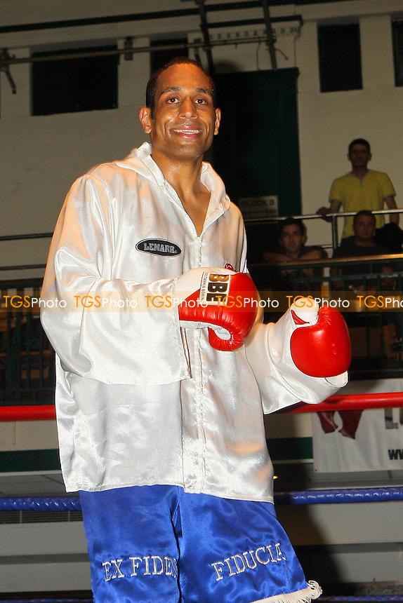 Wayne Alwan-Arab (blue shorts) defeats Ian Eldridge in a Middleweight boxing contest at York Hall, Bethnal Green, pormoted by Left Jab / Miranda Carter - 20/06/10 - MANDATORY CREDIT: Gavin Ellis/TGSPHOTO - Self billing applies where appropriate - Tel: 0845 094 6026