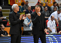 20200206 – OOSTENDE ,  BELGIUM : Belgian assistant coach Pierre Cornia and Belgian head coach Philip Mestdagh   pictured during a basketball game between the national teams of Canada and the National team of Belgium named the Belgian Cats on the first matchday of the FIBA Women's Qualifying Tournament 2020 , on Thursday 6  th February 2020 at the Versluys Dome in Oostende  , Belgium  .  PHOTO SPORTPIX.BE   DAVID CATRY