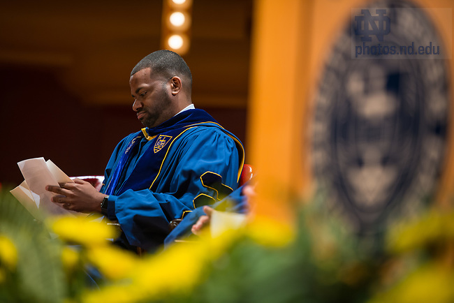 July 15, 2017;  Shavar Jeffries, president of Democrats for Education Reform (DFER) and a leading advocate for expanding public and accountable school-choice opportunities for underserved families, speaks at the 2017 Commencement Ceremony of the University of Notre Dame's Alliance for Catholic Education (ACE) in the Debartolo Performing Arts Center.  Photo by Barbara Johnston/University of Notre Dame)