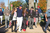 Phil Mickelson (Team USA) leaving the 4th green during the Saturday morning Foursomes at the Ryder Cup, Hazeltine national Golf Club, Chaska, Minnesota, USA.  01/10/2016<br /> Picture: Golffile | Fran Caffrey<br /> <br /> <br /> All photo usage must carry mandatory copyright credit (&copy; Golffile | Fran Caffrey)