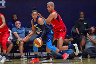 Washington, DC - August 31, 2018: Atlanta Dream guard Alex Bentley (20) is guarded by Washington Mystics forward Tianna Hawkins (21) during semi finals playoff game between Atlanta Dream and Wasington Mystics at the Charles Smith Center at George Washington University in Washington, DC. (Photo by Phil Peters/Media Images International)