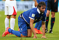 Georgios Samaras of Greece feels the pain from a knock