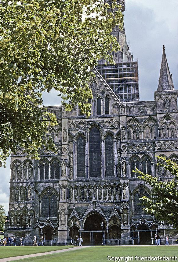 Salisbury: Salisbury Cathedral--West Front. Photo '90.