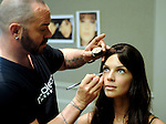 Model Julia Etherington has make up done by Russ Brouse backstage at the annual Houston Chronicle's Best Dressed Luncheon at the Westin Galleria Hotel Tuesday April 3, 2013.(Dave Rossman photo)