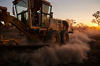 Nick Atkins grading a mining track close to the Gibb River Road