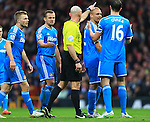The referee points Wes Brown of Sunderland in the direction of the changing rooms following his red card - Manchester United vs. Sunderland - Barclay's Premier League - Old Trafford - Manchester - 28/02/2015 Pic Philip Oldham/Sportimage