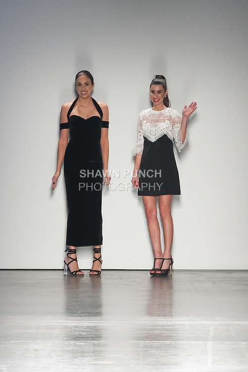 "Australian fashion designers thank audience for attending their Lil & Emm Spring Summer 2017 ""Summer Romance"" collection runway show, for the Fashion Palette Austrialian Swim Resort Spring Summer 2017 fashion show on September 8, 2016."