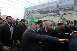 Hamas's leader in the Gaza Strip Yahya Sinwar arrives to attend a rally marking the 31th anniversary of the founding of the Hamas movement, in Gaza city, December 16, 2018. Photo by Ashraf Amra