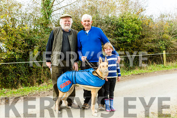 Enjoying the Castleisland Coursing Meeting in Cahill Park, Castleisland on Monday were Alan Newman, Dan O'Connor and Danielle O'connor with Sheehan