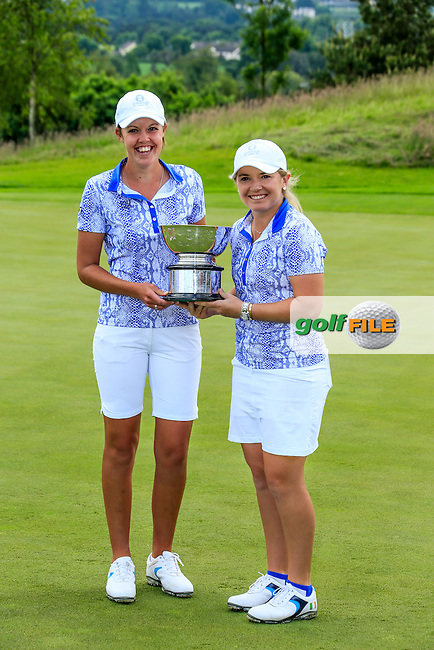 Megan Maclaren and Bronte Law with the Curtis Cup after Sunday Singles matches at the 2016 Curtis cup from Dun Laoghaire Golf Club, Ballyman Rd, Enniskerry, Co. Wicklow, Ireland. 12/06/2016.<br /> Picture Fran Caffrey / Golffile.ie<br /> <br /> All photo usage must carry mandatory copyright credit (&copy; Golffile | Fran Caffrey)