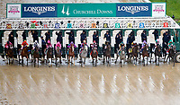 LOUISVILLE, KY - MAY 05: The field breaks from the gate at the start of the Longines Kentucky Oaks on Kentucky Oaks Day at Churchill Downs on May 5, 2017 in Louisville, Kentucky. Abel Tasman #13, ridden by Mike Smith, won the race. (Photo by Jon Durr/Eclipse Sportswire/Getty Images)