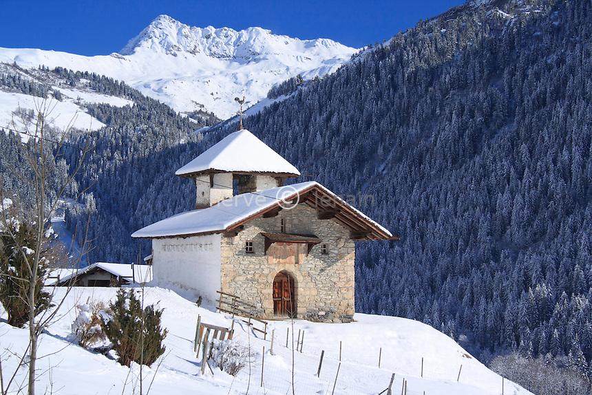 France, Savoie (73), Hauteluce, chapelle de Belleville au hameau de Belleville sous la neige // France, Savoie, Hauteluce, chapel of Belleville in the  hamlet of Belleville under the snow