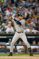 Derek Jeter #2 of the New York Yankees at bat versus the Detroit Tigers at Comerica Park April 27, 2009 in Detroit, Michigan.  Photo by Brian Westerholt / Four Seam Images