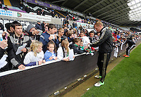 Wednesday, 23 April 2014<br /> Pictured: Gerhard Tremmel signing autographs for supporters.<br /> Re: Swansea City FC are holding an open training session for their supporters at the Liberty Stadium, south Wales,