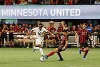 ATLANTA, Georgia - August 27: Mason Toye #23 and Miles Robinson #12 during the 2019 U.S. Open Cup Final between Atlanta United and Minnesota United at Mercedes-Benz Stadium on August 27, 2019 in Atlanta, Georgia.