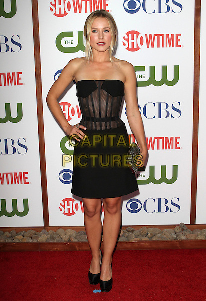 Kristen Bell.CBS, CW and Showtime Summer 2011 TCA Party held at The Pagoda, Beverly Hills, California, USA..August 3rd, 2011.full length black strapless sheer corset skit dress hand on hip clutch bag.CAP/ADM/KB.©Kevan Brooks/AdMedia/Capital Pictures.