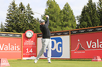 Marcus Fraser (AUS) tees off the 14th tee during Sunday's Final Round of the 2017 Omega European Masters held at Golf Club Crans-Sur-Sierre, Crans Montana, Switzerland. 10th September 2017.<br /> Picture: Eoin Clarke | Golffile<br /> <br /> <br /> All photos usage must carry mandatory copyright credit (&copy; Golffile | Eoin Clarke)