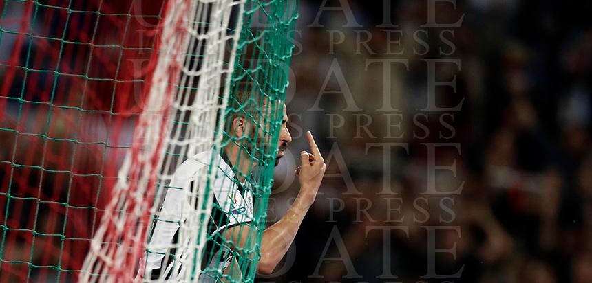 Calcio, Tim Cup: finale Juventus vs Lazio. Roma, stadio Olimpico, 17 maggio 2017.<br /> Juventus' Leonardo Bonucci celebrates after scoring during the Italian Cup football final match between Juventus and Lazio at Rome's Olympic stadium, 17 May 2017.<br /> UPDATE IMAGES PRESS/Isabella Bonotto