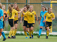 20200820 - TUBIZE , Belgium : Belgian players celebrate the goal of Lore Jacobs (9) during a friendly match between Belgian national women's youth soccer team called the Red Flames U17 and Union Saint-Ghislain Tetre , on the 20th of August 2020 in Tubize.  PHOTO: Sportpix.be | SEVIL OKTEM