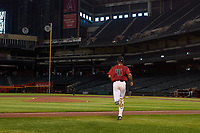 AZL D-backs starting pitcher Brennan Malone (41) jogs onto the field to make his professional debut during an Arizona League game against the AZL Giants Black on July 28, 2019 at Chase Field in Phoenix, Arizona. AZL Giants Orange defeated AZL D-backs 6-4. (Zachary Lucy/Four Seam Images)