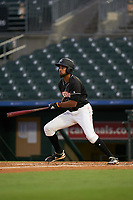 Jupiter Hammerheads Tristan Pompey (3) at bat during a Florida State League game against the Lakeland Flying Tigers on August 12, 2019 at Roger Dean Chevrolet Stadium in Jupiter, Florida.  Jupiter defeated Lakeland 9-3.  (Mike Janes/Four Seam Images)
