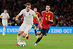 Spain's Sergi Busquets and England's Harry Kane during UEFA Nations League 2019 match between Spain and England at Benito Villamarin stadium in Sevilla, Spain. October 15, 2018. (ALTERPHOTOS/A. Perez Meca)