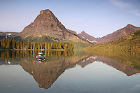 fishing,  Two Medicine Lake, reflection, Glacier National Park