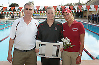 STANFORD, CA - FEBRUARY 13:  Kelley Hug of the Stanford Cardinal on Senior Day during Stanford's 167-131 win over California at the Avery Aquatic Center on February 13, 2010 in Stanford, California.