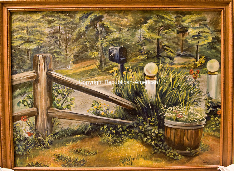 OXFORD, CT - 27 NOVEMBER 2009 -112709JT04--<br /> Caryl Antonowicz Soucy's oil painting, called &quot;Idlease,&quot; at her Oxford home. Soucy recently received paintbrushes and other supplies from a town employee for Thanksgiving.<br /> Josalee Thrift Republican-American