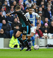 Brighton & Hove Albion's Anthony Knockaert (right) under pressure from West Bromwich Albion's Conor Townsend (left) <br /> <br /> Photographer David Horton/CameraSport<br /> <br /> Emirates FA Cup Fourth Round - Brighton and Hove Albion v West Bromwich Albion - Saturday 26th January 2019 - The Amex Stadium - Brighton<br />  <br /> World Copyright © 2019 CameraSport. All rights reserved. 43 Linden Ave. Countesthorpe. Leicester. England. LE8 5PG - Tel: +44 (0) 116 277 4147 - admin@camerasport.com - www.camerasport.com